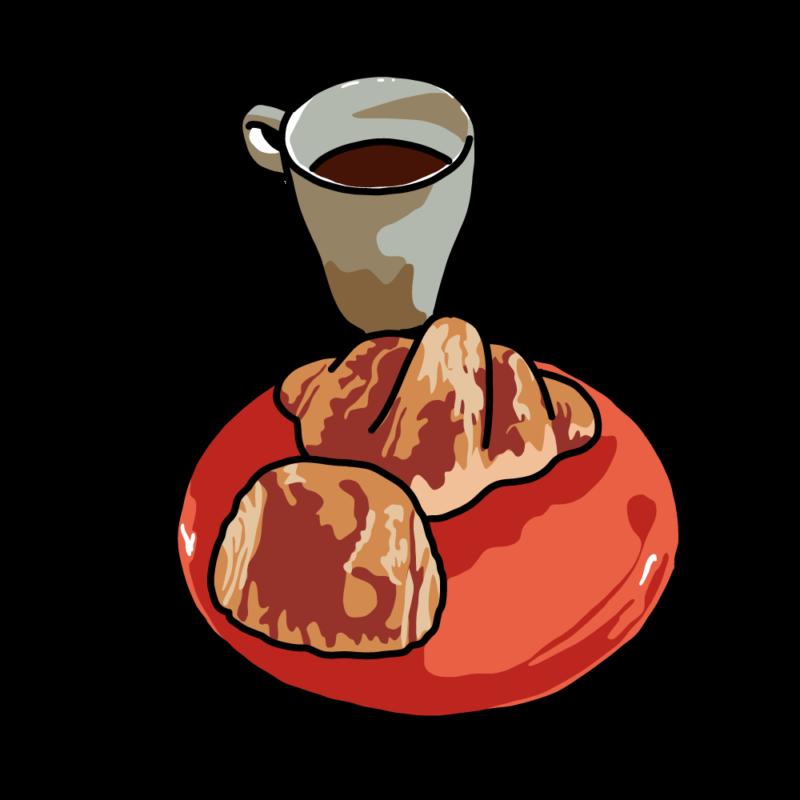 パンとコーヒー赤