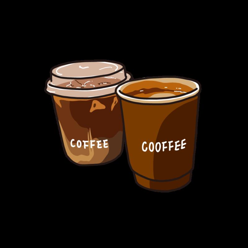 アイスとホットコーヒー茶