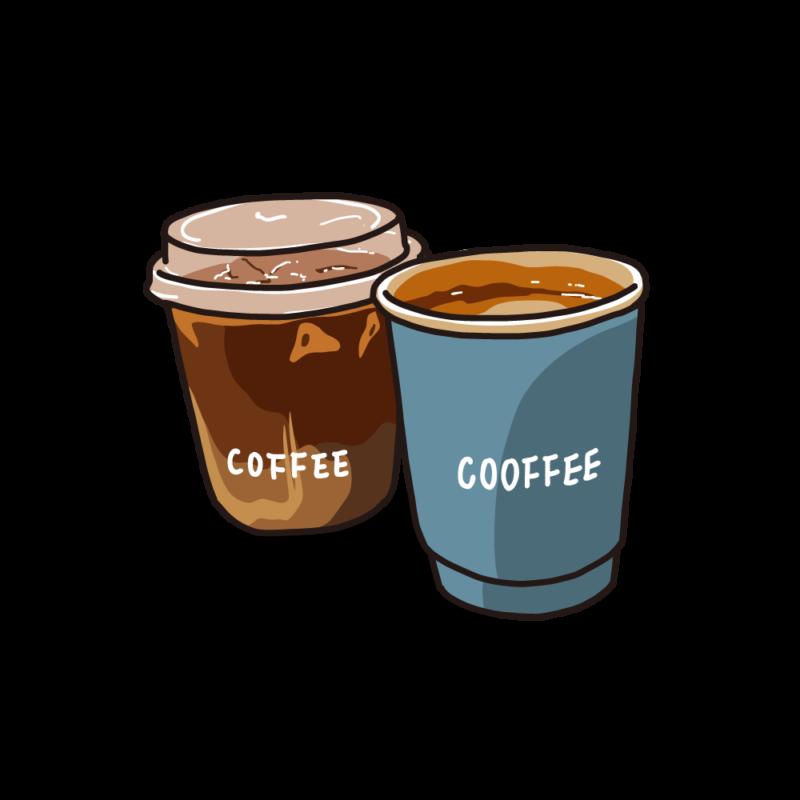 アイスとホットコーヒーブルー