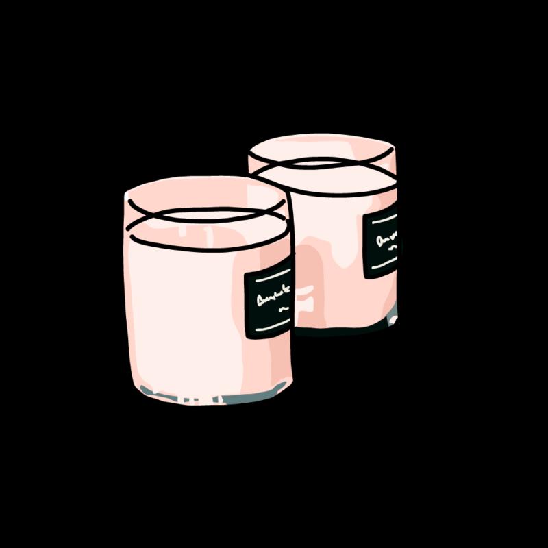 アロマキャンドル2個ピンク