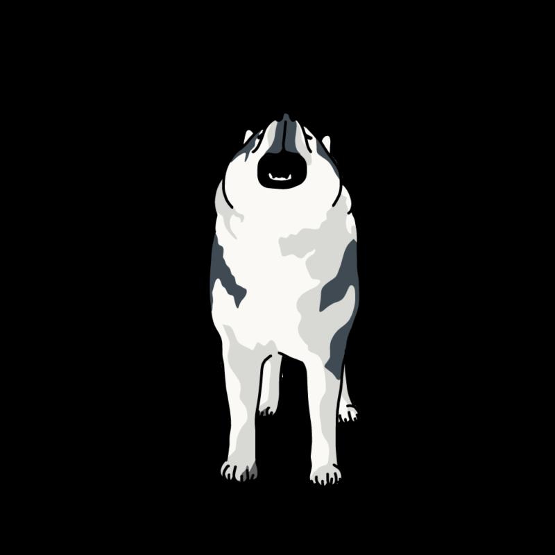 遠吠えるオオカミ犬ハスキー
