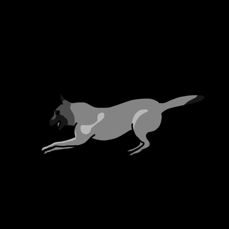 はしゃぐ犬モノクロ