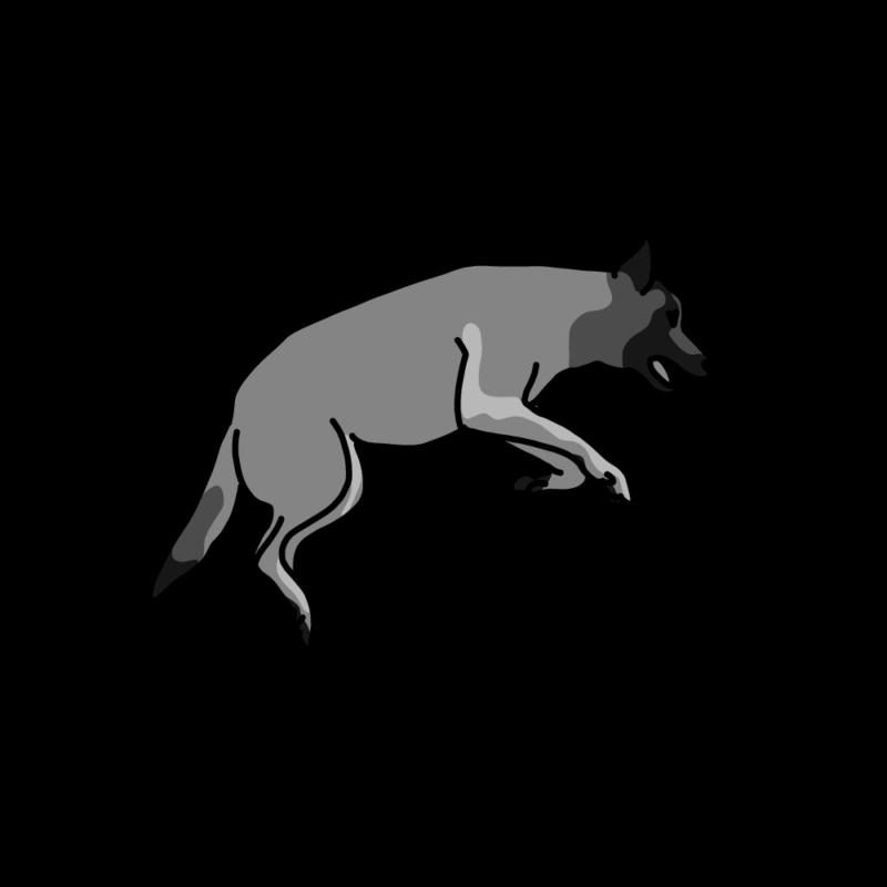 跳ねる犬モノクロ