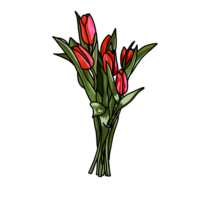 チューリップの花束赤
