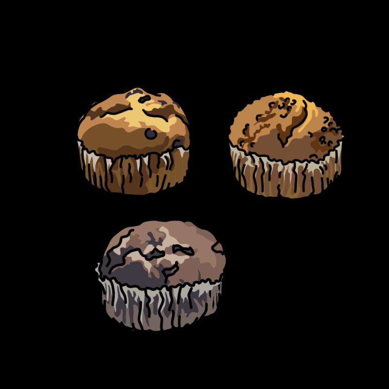 チョコチップマフィン三個