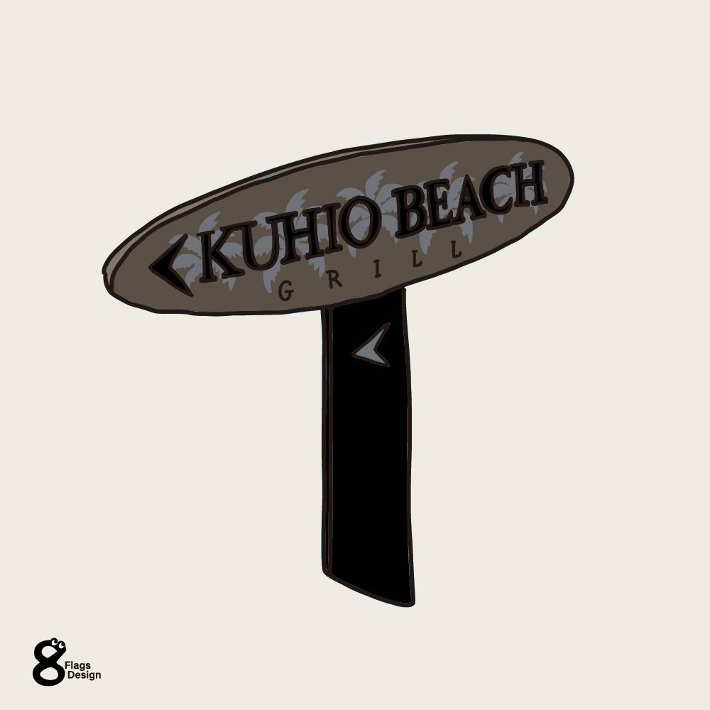 クヒオビーチの看板のキャッチ画像